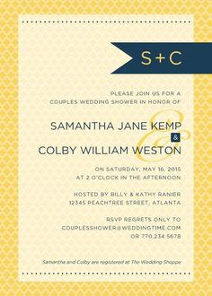 Blue and Yellow Banner Shower TEMPLATE: 132908 By Roxanne Buchholz 5 x 7 Invitation Invite your friends and family to a modern couples wedding shower.