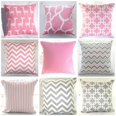 "Pillows, Pink, Grey, Baby, Nursery, Decorative Throw Pillows, Throw Pillows, Giraffes, Elephants, Pink Chevron, Gray Chevron, 18"" x 18"" on Etsy, $17.00"