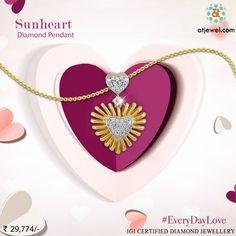 Design Of The Day..... ATJewel Presents a Beautiful Sunheart Diamond Pendant To Say #EveryDayLove Shop Now,Beautiful Design #EasyOnBudget  #ATJewel #Diamond #HeartCollection #Pendant #Gold #EverDayLove http://bit.ly/2m6wKHo