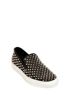 GIACOMORELLI - STUDDED LEATHER SLIP ON SNEAKERS