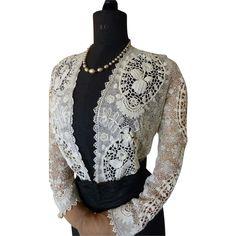 Gorgeous Edwardian Handmade Irish Crochet Lace Blouse, Antique Blouse, ca. 1900s