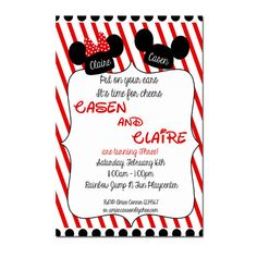 Mickey and Minnie Mouse Party - Twin First Birthday - Twin Birthday Party Invitation - Digital File - Boy Girl Twin Invitation