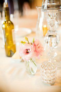 elegant and simple wedding reception table decor #tabledecor #weddingreception #weddingchicks http://www.weddingchicks.com/2014/01/30/pink-and-peach-bejeweled-wedding/
