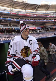 Captain Serious before the 2014 NHL Winter classic. Hot Hockey Players, Nhl Players, Hockey Teams, Hockey Stuff, Sports Teams, Hockey Baby, Hockey Girls, Ice Hockey, Chicago Hockey