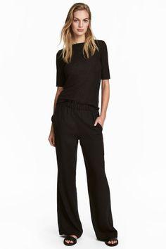 Wijde pull-on broek - Zwart - DAMES   H&M NL 1