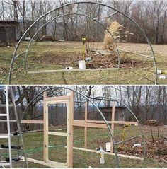greenhouse idea using old trampoline frame