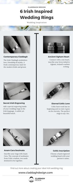 From the Contemporary Claddagh ring to an ancient written script left to us by our ancestors, here are our top 6 Irish wedding ring ideas.