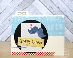 Card by PS DT Ashley Marcu using PS Mustaches, Birthday Sampler, File Folders dies, Incognito
