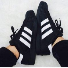 """ADIDAS"" Trending Fashion Casual Sports Shoes Black white line from Summer11. Saved to Things I want as gifts. #shoes #fashion #adidas."