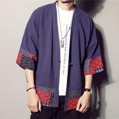 Men Japanese Linen Sleeve Vintage Cardigan Kimono Floral T-Shirt Ethnic Gilet Kimono, Kimono Cardigan, Male Cardigan, Mens Kimono Shirt, Japanese Outfits, Japanese Fashion, Cheongsam, Style Chinois, Island Outfit