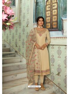 Cream Pure Tussar Silk Partywear Designer Suit Designer Salwar Suits, Patiala Salwar, Saree Look, Indian Ethnic Wear, Suits For Women, Dress Making, Party Wear, Pure Products