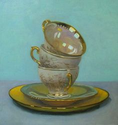 Olga Antonova: Three Cups on Turquoise 2012 - still life quick heart