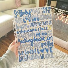 Lyric art of Ed Sheerans song Thinking Out Loud from the X (Multiply) album. So baby now, take me into your loving arms, kiss me under the lights of