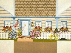 Needle Crossings New England Cottage Brick Cover Handpainted Needlepoint Canvas | eBay