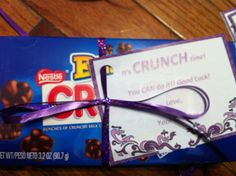 """It's """"crunch"""" time. Good luck gifts to my cheerleaders on their first competition of the season."""