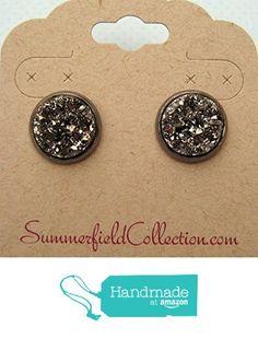 Hematite-Tone Gunmetal Gray Stud Earrings 12mm Faux Druzy Stone from Summerfield Collection https://www.amazon.com/dp/B01DB1SOMK/ref=hnd_sw_r_pi_dp_Uk83ybF9SHG0Y #handmadeatamazon