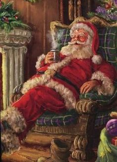 Santa Claus enjoying a cup of cocoa beside the fire. I miss believing in Santa Vintage Christmas Images, Old Fashioned Christmas, Christmas Scenes, Christmas Past, Winter Christmas, Father Christmas, Victorian Christmas, Christmas Villages, Pink Christmas
