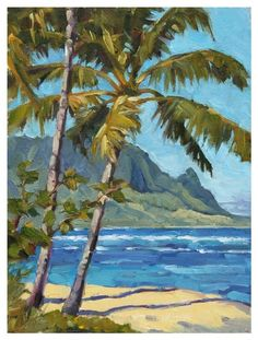 """""""Hanalei Bay"""" by David Westerfield Beach Watercolor, Watercolor Landscape, Landscape Art, Landscape Paintings, Landscapes, Seascape Paintings, Watercolor Paintings, Tropical Paintings, Hawaii Painting"""
