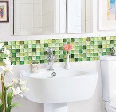 Varied green glass tiles