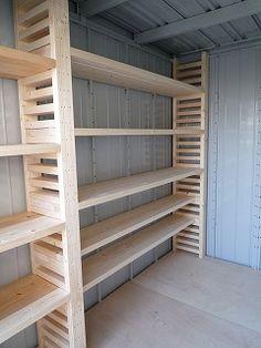Garage Storage Shelves, Basement Storage, Garage Organization, Diy Pallet Projects, Woodworking Projects, Rustic Basement, Garage Interior, Garage Workshop, Design Lab