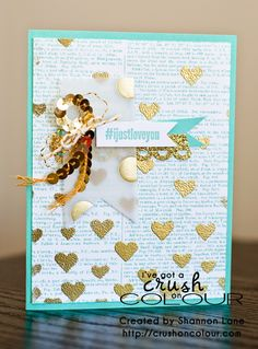 Crush On Colour: Blingin' it up - Coastal Cabana and Gold (Stampin' Up 2014 - Hearts masks, @SoSocial, Dictionary background) This is my new favourite blog!! :)