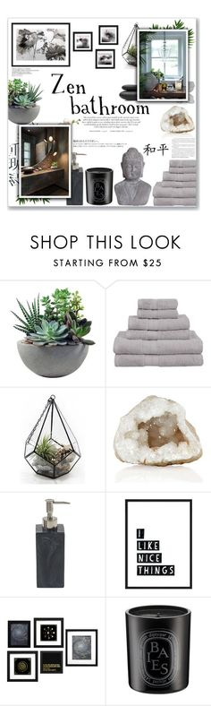 """Zen Bathroom"" by lauren-a-j-reid on Polyvore featuring interior, interiors, interior design, home, home decor, interior decorating, Rough Fusion, Superior, Hedi Slimane and Diptyque"