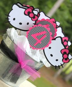 24 Hello Kitty Cupcake Toppers in in Hot Pink Pink and Polka Dots