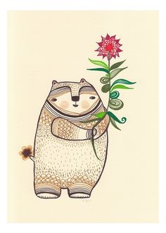 Bear-like thing with a very nice flowering plant print by Laura Berger