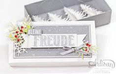 Christmas trees in a Box created with Carols of Christmas - Card Front Builder Thinlits This - Weihnachtsdeko schnell gemacht mit den Stampin Up Thinlits Festtagsdesign by Sylwia Schreck
