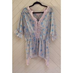 Free People Sheer Floral Top Adorable sheer floral top by Free People. Shark bite hem. Crochet details. In great condition. No rips or stains. ❌No trades❌ Free People Tops