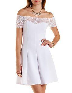 Off-the-Shoulder Lace Yoke Skater Dress: Charlotte Russe #lace #spring #dress