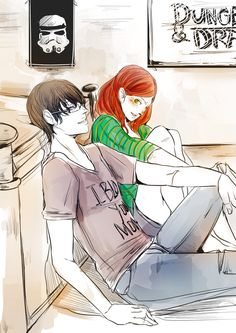 """Simon and Clary. By the Angel, Simon is wearing his """"I BLOGGED YOUR MOM"""" shirt:D #Nerd"""