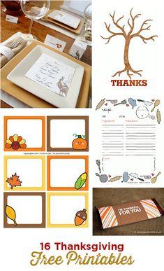 16 Thanksgiving DIY Free Printables!
