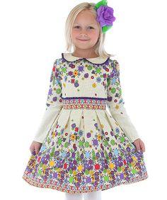 Look what I found on #zulily! Purple & White Floral A-Line Dress - Toddler & Girls #zulilyfinds