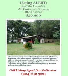 Listing Alert: Charming Home in Terrace Park: 3407 Rockwood Dr, Jacksonville, FL 32254, MLS# 805706, $39,900. Brought to you by INI Realty Investments Inc., the first 100% Commission Real estate Office in Jacksonville, FL. www.100RealestateJax.com