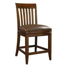 Slat Back Counter Stool with Memory Swivel Seat