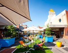 City creates Pop-up Park in Yarraville Melbourne Suburbs, Urban Intervention, Landscape And Urbanism, Commercial Street, Large Planters, City Living, Park City, Installation Art, Pop Up
