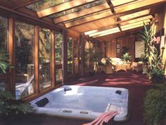 Lindal Cedar Homes: worldwide manufacturer of post and beam homes, solid cedar homes, custom log homes, sunrooms and room additions. Solarium Room, Lindal Cedar Homes, Hot Tub Room, Sunroom Windows, 4 Season Room, Sunroom Decorating, Decorating Ideas, Sunroom Addition, Jacuzzi Outdoor