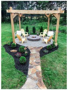 Backyard Patio Designs, Backyard Landscaping, Fire Pit Landscaping Ideas, Backyard Pergola, Backyard Seating, Backyard Plan, Outdoor Pergola, Fire Pit Backyard, Fire Pit Pergola