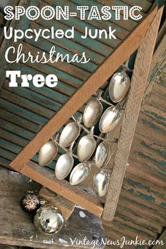 Spoon-tastic Upcycled Junk Christmas Tree {Yes, with Old Spoons! Dress Form Christmas Tree, Diy Christmas Tree, Christmas Projects, All Things Christmas, Winter Christmas, Christmas Holidays, Christmas Decorations, Christmas Ideas, Xmas Trees
