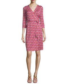 TC461 Diane von Furstenberg New Julian Two Zen Flora Wrap Dress, Pink