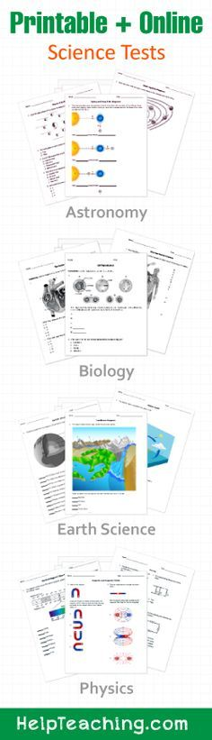 High School Science Tests & Worksheets - Biology, Earth Science, Chemistry, and Physics. Print or schedule online at HelpTeaching.com