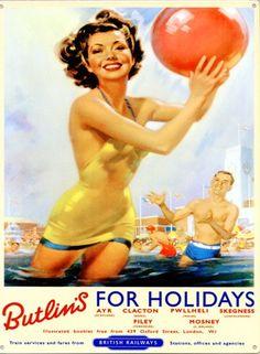 Mervyn Stuart Butlins vintage poster from Christies Vintage Advertisements, Vintage Ads, Vintage Classics, Butlins Holidays, British Holidays, Uk Holidays, Vintage Tin Signs, Vintage Metal, British Seaside