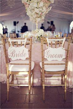 elegant signage | bride and groom signs | gold seating | glam reception | #weddingchicks