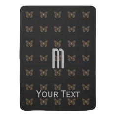 Custom Golden  Butterfly Pattern Black Monogram Baby Blanket