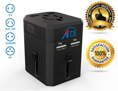 Amazon.com: Worldwide Travel Adapter, ACE BEST International Plug [US UK EU AU] with Dual USB Charging Ports & Universal AC Socket, Safety Fused   X5 Black , W/ safety pouch: Cell Phones & Accessories