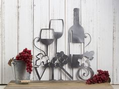 "Vino Metal Wall Art | 13""W x 15""H | Wine | Vino | Wine Sign | Wine Wall Decor | Wine Decor | Kitchen Decor | Metal Sign | Wedding Gift"