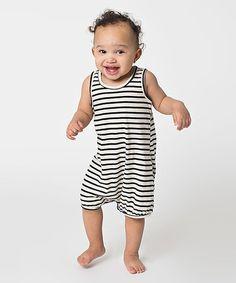 $12.99 marked down from $22! Natural & Black Pablo Stripe Romper - Infant #baby #infant #romper #boy #black #white #stripes #sale #chic #zulily #zulilyfinds
