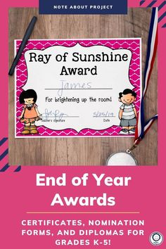 This set includes 202 pages of award certificates, teacher nomination forms, student nomination forms, note home to parents, and diplomas for grades K-5. I have also added blank award templates for you to add in your own award titles. There are also editable templates of ALL awards included so that you can type directly onto each award. With so many different options, you can easily find an award to fit every student in your classroom. Digital versions also included! #endofyear Google Classroo, Award Template, Award Certificates, End Of Year, Kindergarten Classroom, Homeschool, Awards, Parents, Teacher