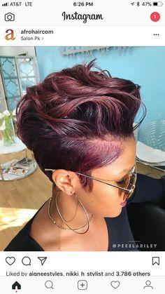 95 Purple Hair Color Highlights Lowlights For Dark Burgundy Plum Violets Colors hair color shades, Love Hair, Great Hair, Gorgeous Hair, Short Pixie, Short Hair Cuts, Short Cut Wigs, Pixie Cuts, Sassy Hair, Hair Affair